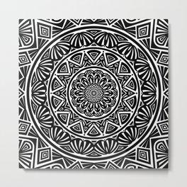 Black and White Simple Simplistic Mandala Design Ethnic Tribal Pattern Metal Print