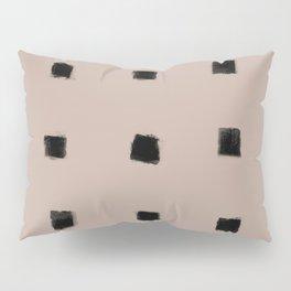 Polka Strokes Gapped - Black on Nude Pillow Sham
