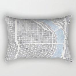 Portland Oregon watercolor city map art Rectangular Pillow