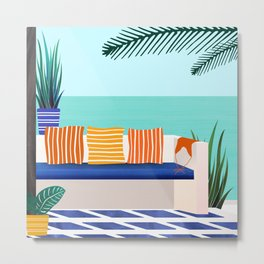 Tropical Villa On The Sea Metal Print