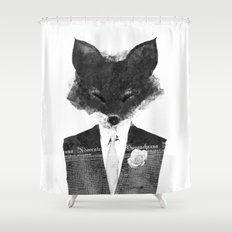 minima - dapper fox | noir Shower Curtain