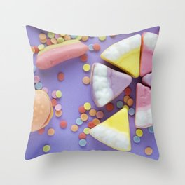 Purple Gummy Candy Throw Pillow