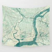 philadelphia Wall Tapestries featuring Philadelphia Map Blue Vintage by City Art Posters