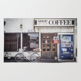 Bike and Coffee Shop in Kyoto Rug