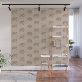 Fractal Swirl Elephant, Brown and Taupe Wall Mural