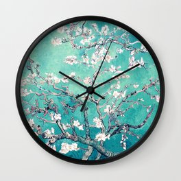 Vincent Van Gogh Almond Blossoms Turquoise Wall Clock