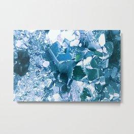 Pyrite Crystal Close Up - Blue Edit Metal Print