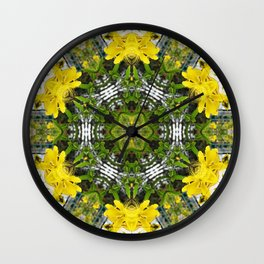 Kaleidoscope of showy St Johns Wort Wall Clock