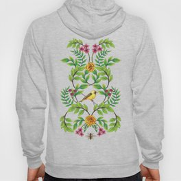 Summer Song - Yellow & Pink Floral Pattern with Birds & Bees Hoody