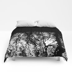 Black and White Tree Branch Silhouette Reflections Comforters