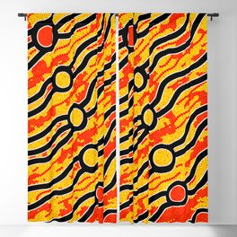 Authentic Aboriginal Art - Bush Fires Blackout Curtain