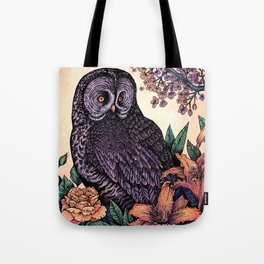 Great Grey Owl At Sunset Tote Bag