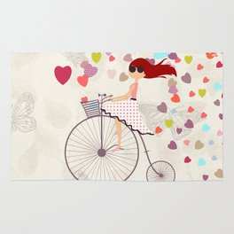 Red haired girl French polka dots dress riding retro bike bicycle backet full of hearts everywhere Rug