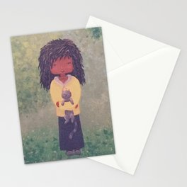 Landscape, girl with her cat Stationery Cards