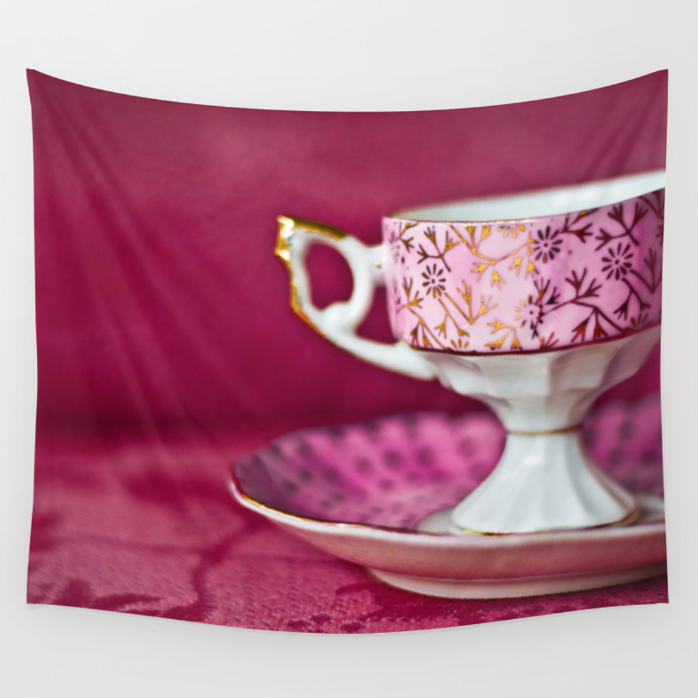 Antique Pink Cup And Saucer Wall Tapestry by Dawnglesenerart TPS8048920