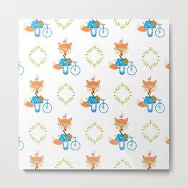 Girl Fox with Bike Pattern Metal Print
