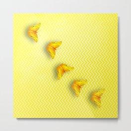Butterflies on buttercup yellow chevron pattern Metal Print