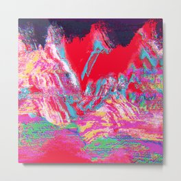 Glitch Mountain Metal Print