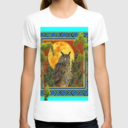 WILDERNESS OWL WITH FULL MOON & TREES TURQUOISE T-shirt