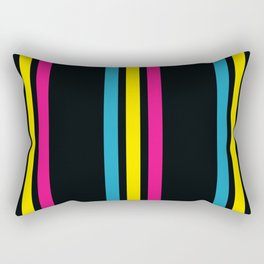 Stripes on Black Rectangular Pillow