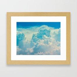 White Cloud In A Blue Sky Heavenly Fluffy Clouds Framed Art Print