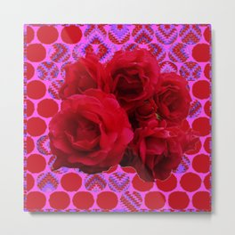CLUSTER OF RED ROSES ON  RED-VIOLET ABSTRACT Metal Print