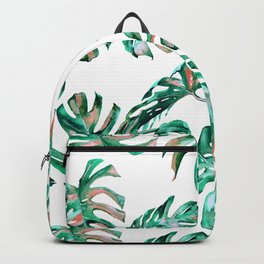Green Coral Palm Leaves Backpack