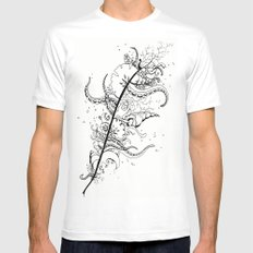 Abstract Art Unique Trending Bird Feather Sea Life Ocean Shells Sand Octopus  Mens Fitted Tee White MEDIUM
