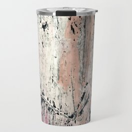 Kelly: a bold, textured, abstract mixed media piece in bright pinks, blues, and white Travel Mug