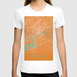 Knoxville, TN, USA, Gold, Blue, City, Map T-shirt