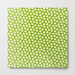 White Polka Dots on Fresh Spring Green- Mix & Match with Simplicty of life Metal Print