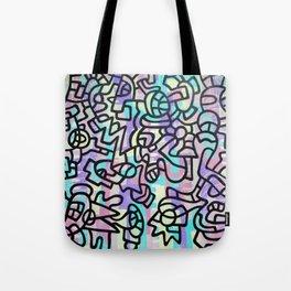 Multicolored Graffiti Illustration Tote Bag