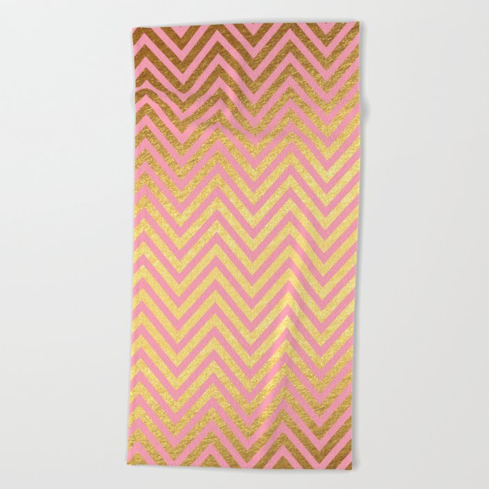 Chevron Herringbone pattern rosegold - gold metal glitter on pink watercolor Beach Towel