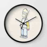 homer Wall Clocks featuring Homer simpson by J Styles Designs