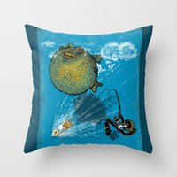 baloon Throw Pillows featuring pufferfish baloon by MR VELA