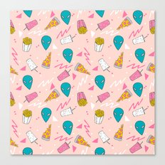Alien outer space cute aliens french fries rad sodas pattern print pink Canvas Print