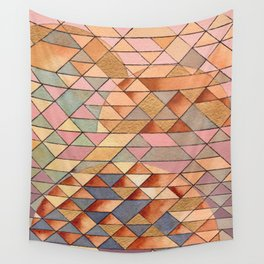 Triangles Circles Golden Sun Wall Tapestry