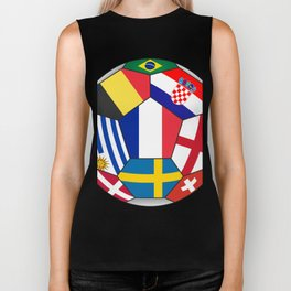 Football ball with various flags - semifinal and final Biker Tank