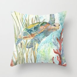 Underwater Fantasy Sea Turtle Throw Pillow