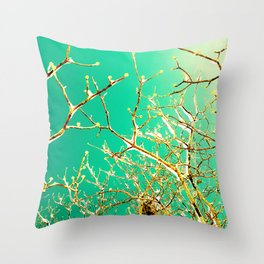 Aqua Icy Winter Branches Throw Pillow