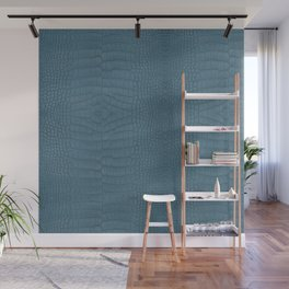 Turquoise Alligator Leather Print Wall Mural
