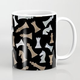 Chess Figures Pattern - Gold and pearl Coffee Mug