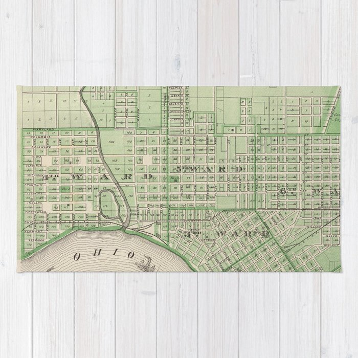 Vintage Map of Evansville Indiana (1876) Rug
