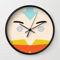 aang Wall Clocks featuring Aang, Avatar by heartfeltdesigns by Telahmarie