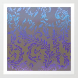Ombre Damask Purple and Blue Art Print