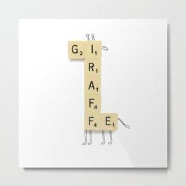 Giraffe Scrabble Metal Print