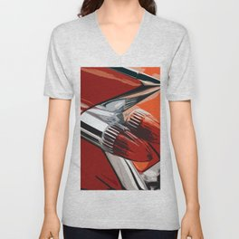 Classic Red Car with Chrome Bullet Lights Unisex V-Neck