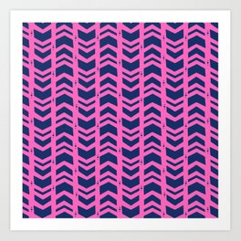 Midnight navy blue hot pink abstract geometric pattern Art Print