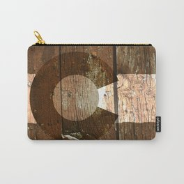 Rustic brown wooden Colorado flag Carry-All Pouch