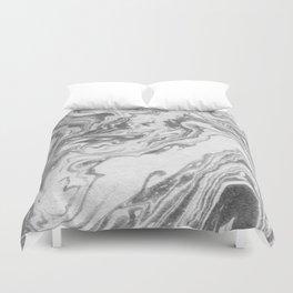 Akio - black and white grey minimal modern abstract marble painting retro minimalism urban bklyn Duvet Cover